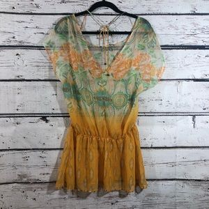FREE PEOPLE   Print Sheer Cover Up Tunic Top